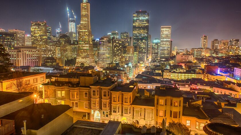 Skyline photo of city during night time
